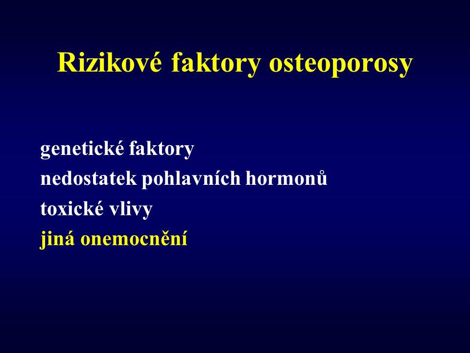 Rizikové faktory osteoporosy genetické faktory nedostatek pohlavních hormonů toxické vlivy jiná onemocnění