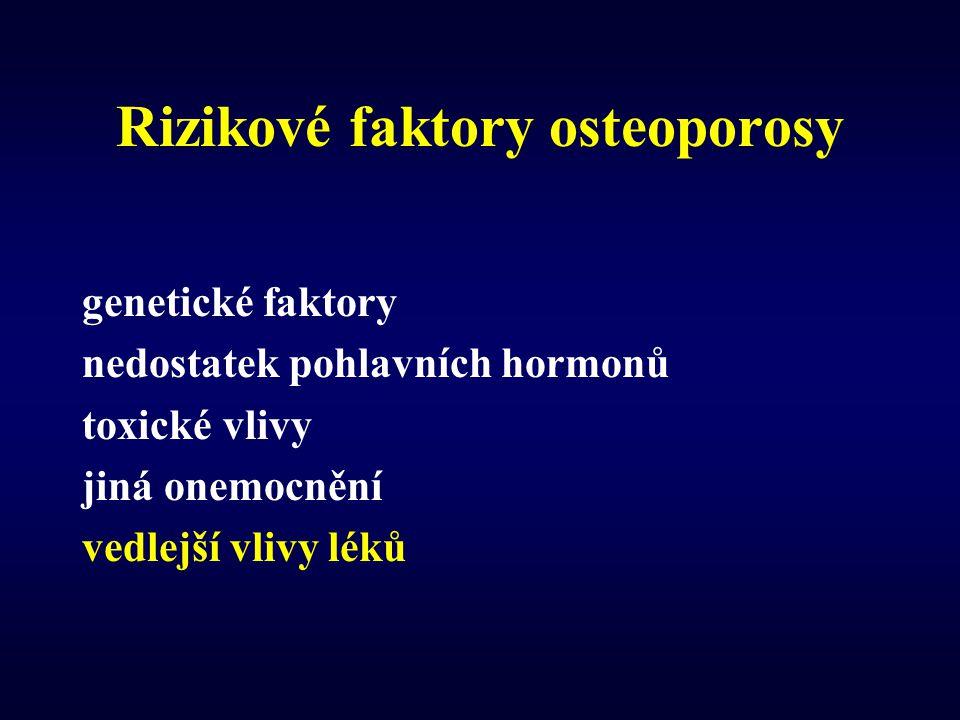 Rizikové faktory osteoporosy genetické faktory nedostatek pohlavních hormonů toxické vlivy jiná onemocnění vedlejší vlivy léků