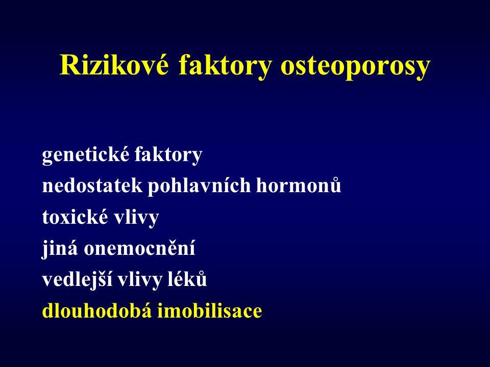 Rizikové faktory osteoporosy genetické faktory nedostatek pohlavních hormonů toxické vlivy jiná onemocnění vedlejší vlivy léků dlouhodobá imobilisace