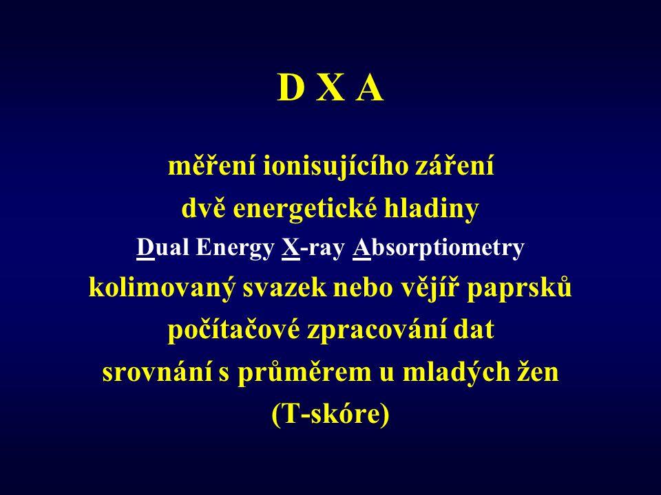 D X A měření ionisujícího záření dvě energetické hladiny Dual Energy X-ray Absorptiometry kolimovaný svazek nebo vějíř paprsků počítačové zpracování d