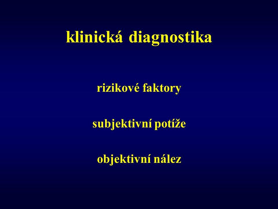 klinická diagnostika rizikové faktory subjektivní potíže objektivní nález