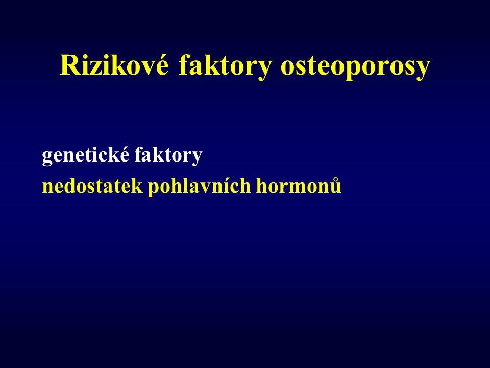Rizikové faktory osteoporosy genetické faktory nedostatek pohlavních hormonů