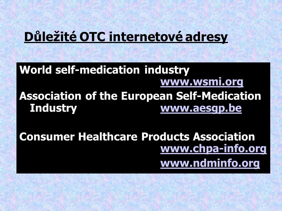 Důležité OTC internetové adresy World self-medication industry www.wsmi.org www.wsmi.org Association of the European Self-Medication Industry www.aesgp.bewww.aesgp.be Consumer Healthcare Products Association www.chpa-info.org www.chpa-info.org www.ndminfo.org