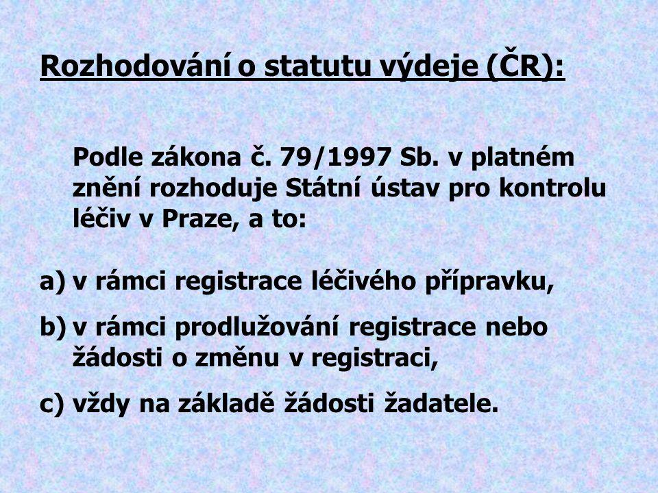 Podle zákona č. 79/1997 Sb. v platném znění rozhoduje Státní ústav pro kontrolu léčiv v Praze, a to: a)v rámci registrace léčivého přípravku, b)v rámc