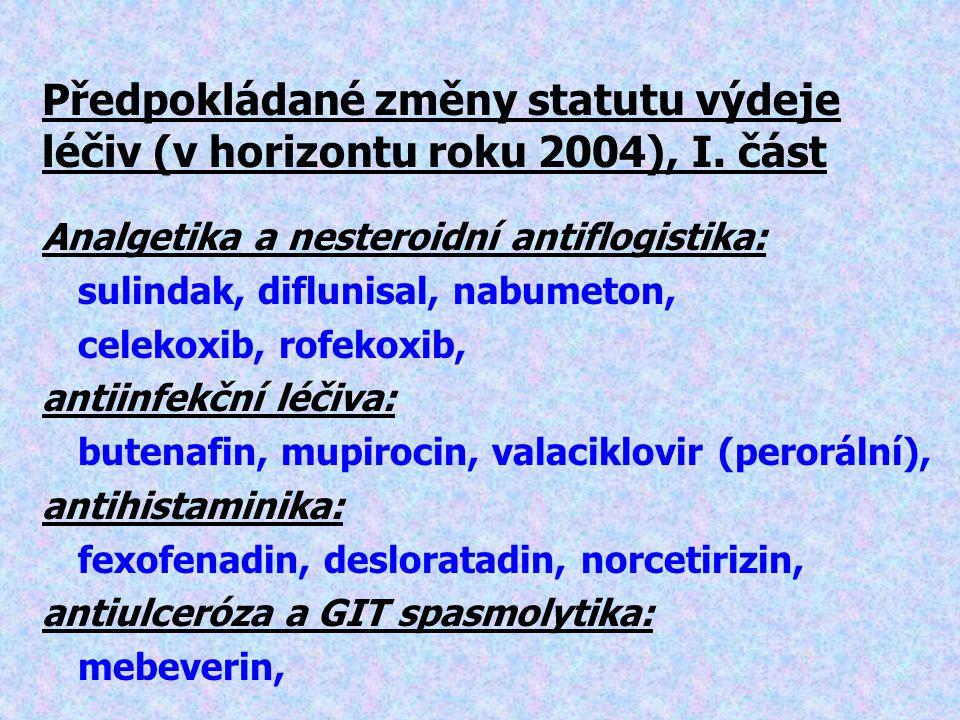 Předpokládané změny statutu výdeje léčiv (v horizontu roku 2004), I.