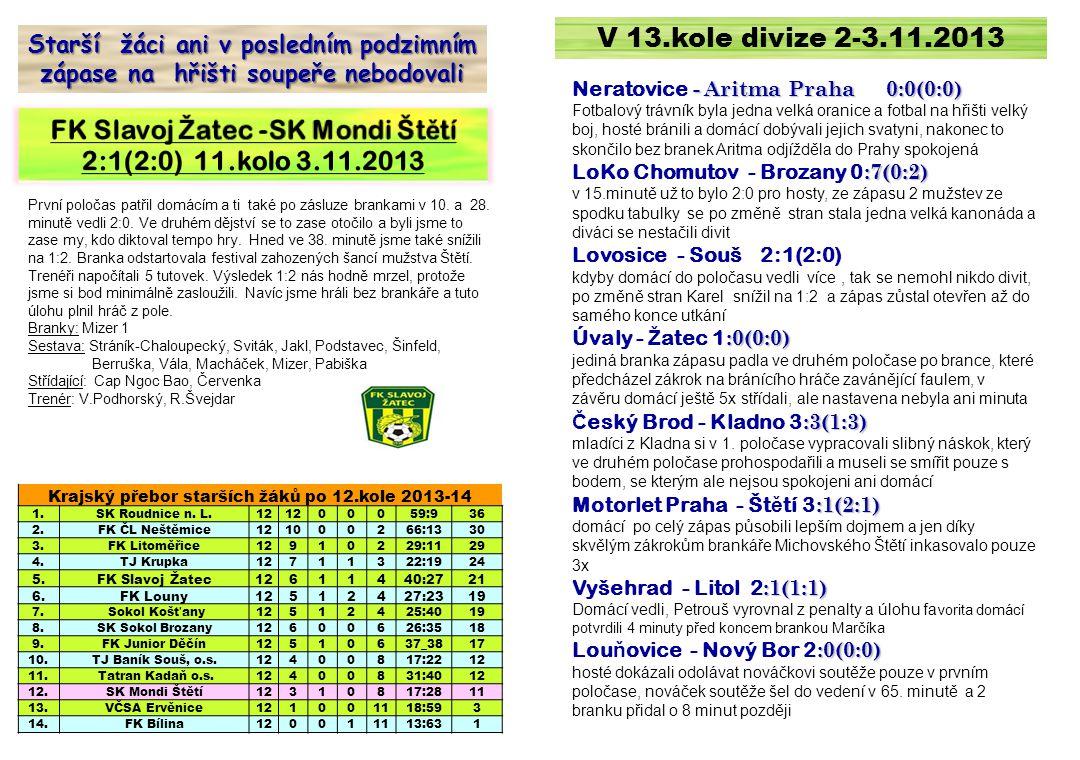 V 13.kole divize 2-3.11.2013 - Aritma Praha 0:0(0:0) Neratovice - Aritma Praha 0:0(0:0) Fotbalový trávník byla jedna velká oranice a fotbal na hřišti