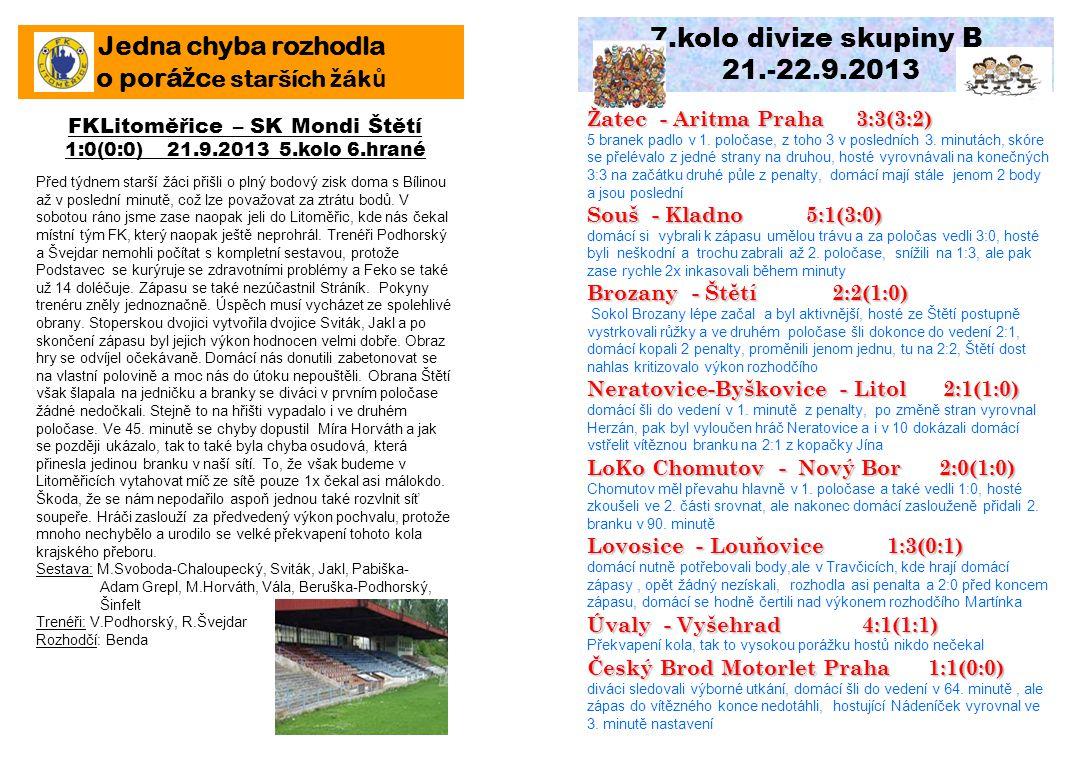 7.kolo divize skupiny B 21.-22.9.2013 Žatec - Aritma Praha 3:3(3:2) 5 branek padlo v 1. poločase, z toho 3 v posledních 3. minutách, skóre se přeléval