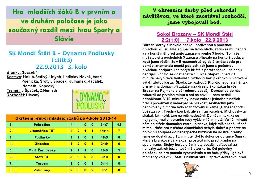 Sokol Brozany – SK Mondi Štětí 2:2(1:0) 7.kolo 22.9.2013 Okresní derby slibovalo hezkou podívanou a početnou diváckou kulisu. Náš soupeř se letos hled