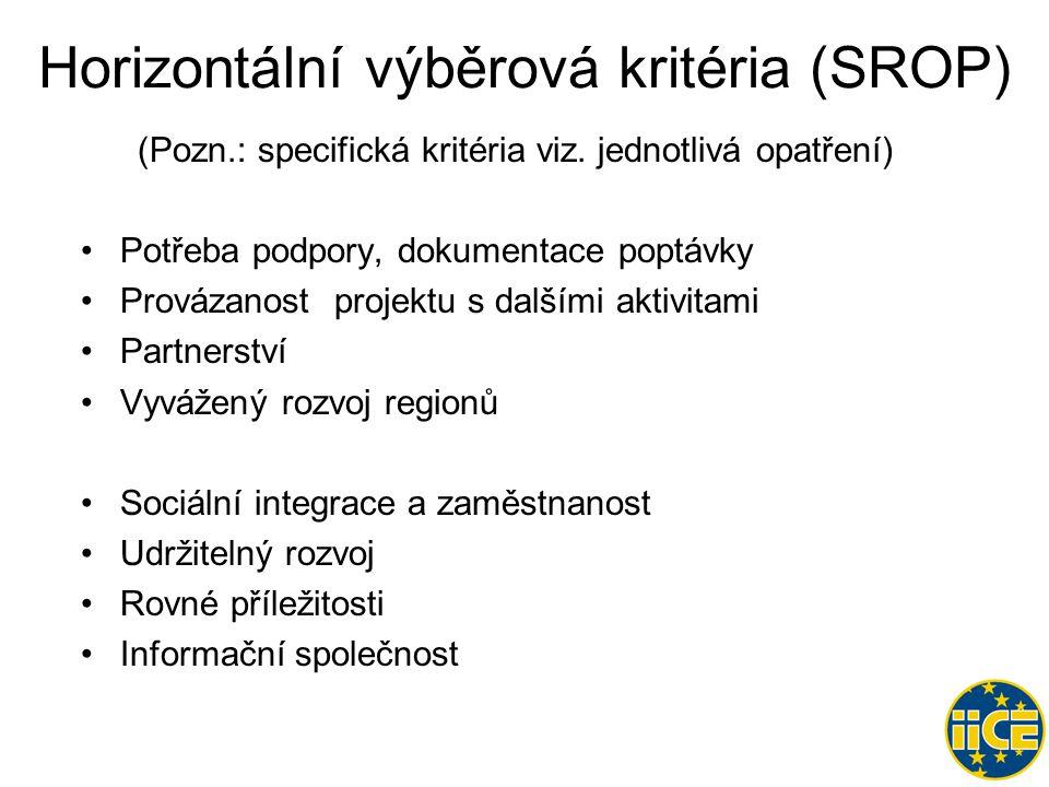 Horizontální výběrová kritéria (SROP) (Pozn.: specifická kritéria viz.