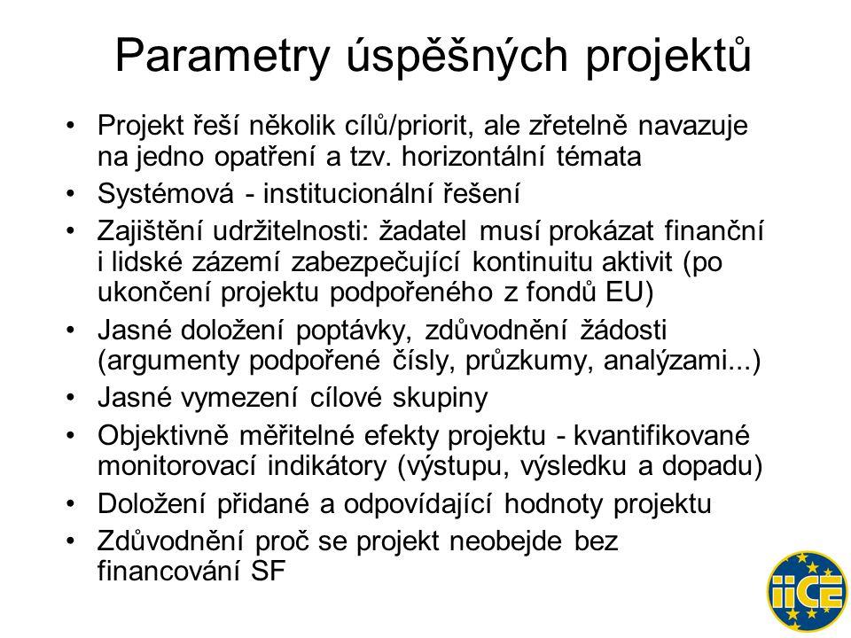 Parametry úspěšných projektů •Projekt řeší několik cílů/priorit, ale zřetelně navazuje na jedno opatření a tzv.
