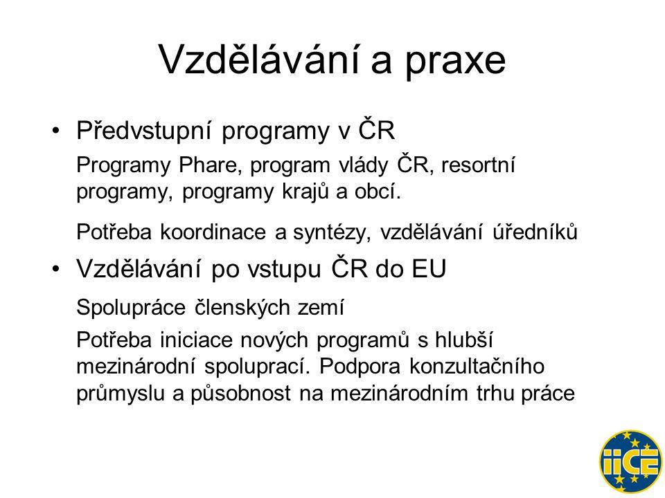 Vzdělávání a praxe •Předvstupní programy v ČR Programy Phare, program vlády ČR, resortní programy, programy krajů a obcí.