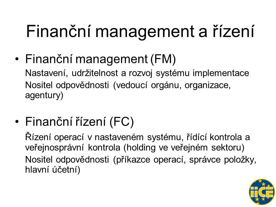 Finanční management a řízení •Finanční management (FM) Nastavení, udržitelnost a rozvoj systému implementace Nositel odpovědnosti (vedoucí orgánu, organizace, agentury) •Finanční řízení (FC) Řízení operací v nastaveném systému, řídící kontrola a veřejnosprávní kontrola (holding ve veřejném sektoru) Nositel odpovědnosti (příkazce operací, správce položky, hlavní účetní)