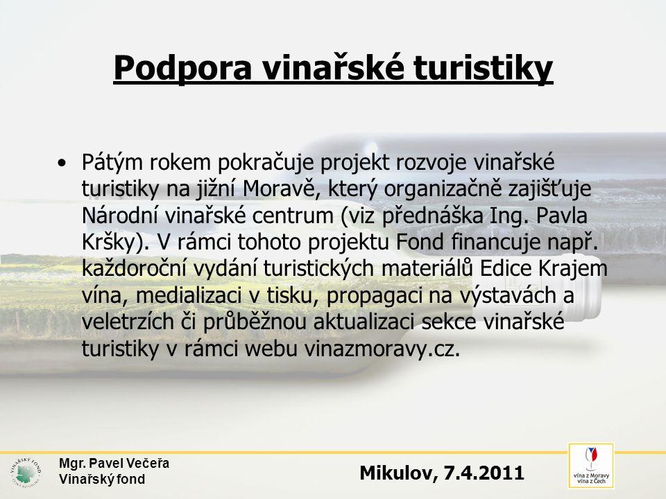 Podpora vinařské turistiky •Pátým rokem pokračuje projekt rozvoje vinařské turistiky na jižní Moravě, který organizačně zajišťuje Národní vinařské centrum (viz přednáška Ing.