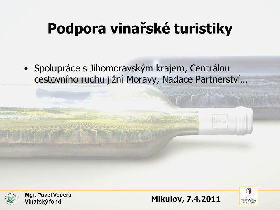 Podpora vinařské turistiky •Spolupráce s Jihomoravským krajem, Centrálou cestovního ruchu jižní Moravy, Nadace Partnerství… Mgr.