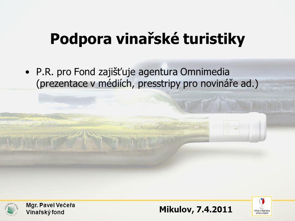 Podpora vinařské turistiky •P.R. pro Fond zajišťuje agentura Omnimedia (prezentace v médiích, presstripy pro novináře ad.) Mgr. Pavel Večeřa Vinařský