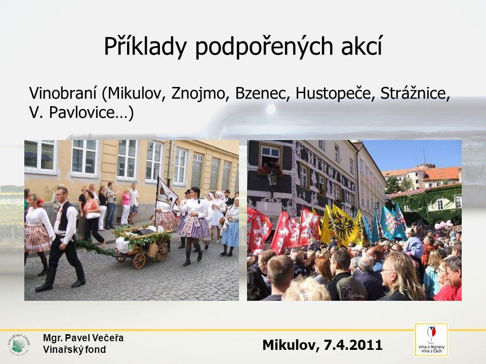 Příklady podpořených akcí Vinobraní (Mikulov, Znojmo, Bzenec, Hustopeče, Strážnice, V. Pavlovice…) Mgr. Pavel Večeřa Vinařský fond Mikulov, 7.4.2011