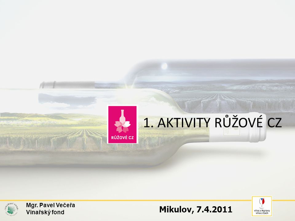1. AKTIVITY RŮŽOVÉ CZ Mgr. Pavel Večeřa Vinařský fond Mikulov, 7.4.2011