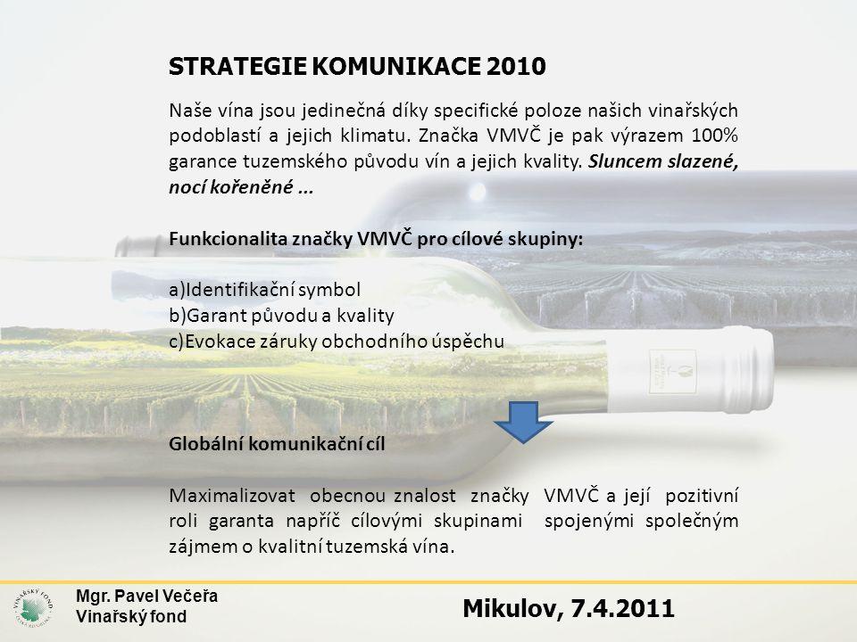 STRATEGIE KOMUNIKACE 2010 Naše vína jsou jedinečná díky specifické poloze našich vinařských podoblastí a jejich klimatu. Značka VMVČ je pak výrazem 10