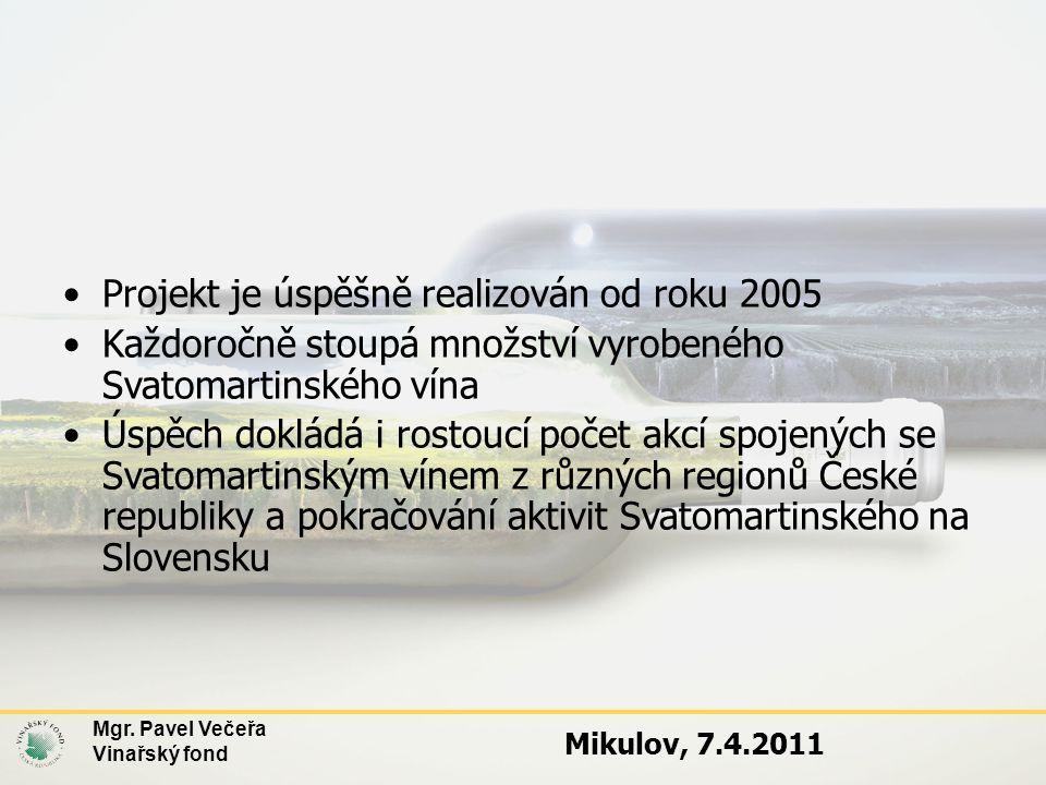 Mgr. Pavel Večeřa Vinařský fond Mikulov, 7.4.2011 •Projekt je úspěšně realizován od roku 2005 •Každoročně stoupá množství vyrobeného Svatomartinského