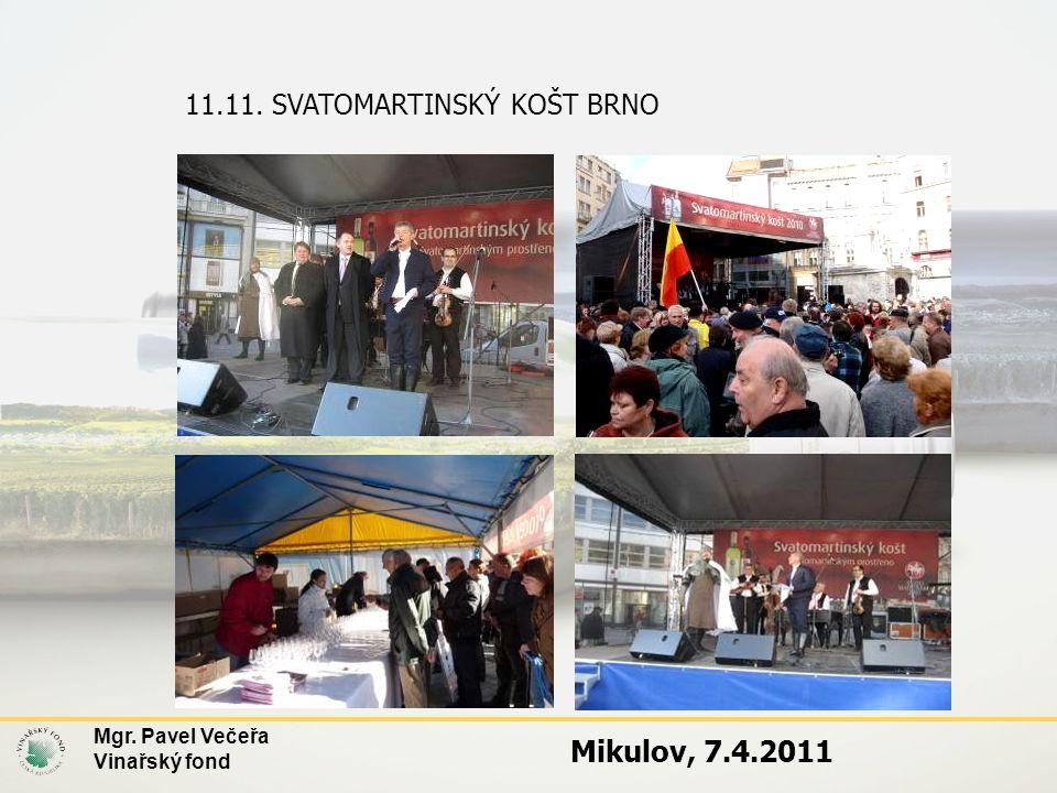 11.11. SVATOMARTINSKÝ KOŠT BRNO Mgr. Pavel Večeřa Vinařský fond Mikulov, 7.4.2011