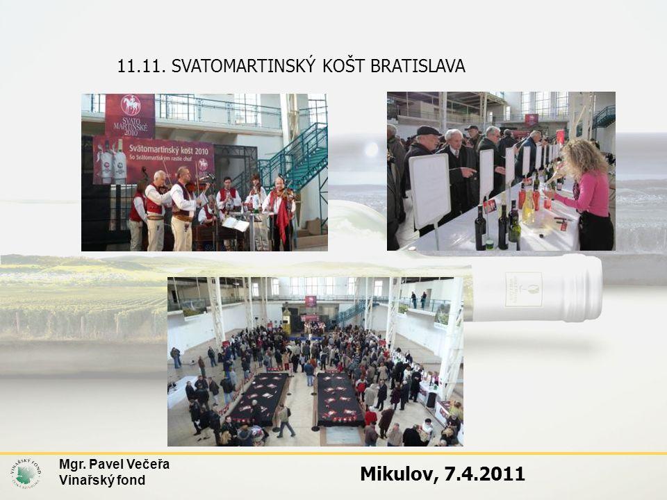 11.11. SVATOMARTINSKÝ KOŠT BRATISLAVA Mgr. Pavel Večeřa Vinařský fond Mikulov, 7.4.2011