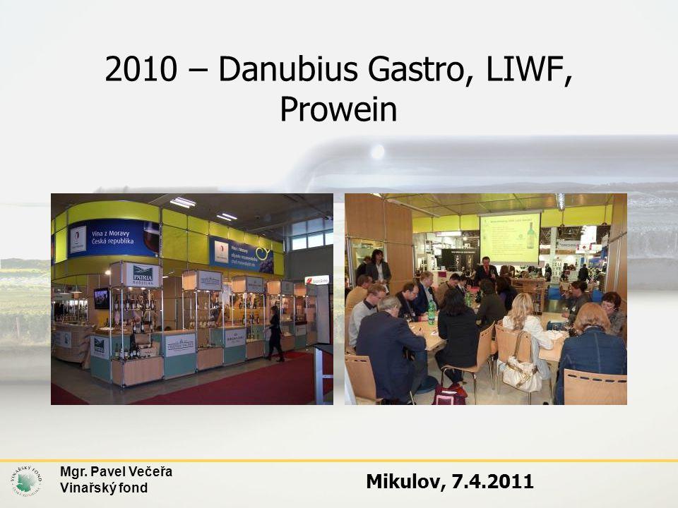 Mgr. Pavel Večeřa Vinařský fond Mikulov, 7.4.2011 2010 – Danubius Gastro, LIWF, Prowein