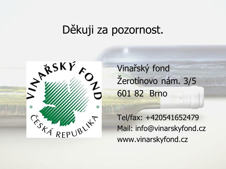 Děkuji za pozornost. Vinařský fond Žerotínovo nám. 3/5 601 82 Brno Tel/fax: +420541652479 Mail: info@vinarskyfond.cz www.vinarskyfond.cz