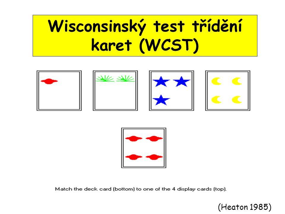 (Heaton 1985) Wisconsinský test třídění karet (WCST)