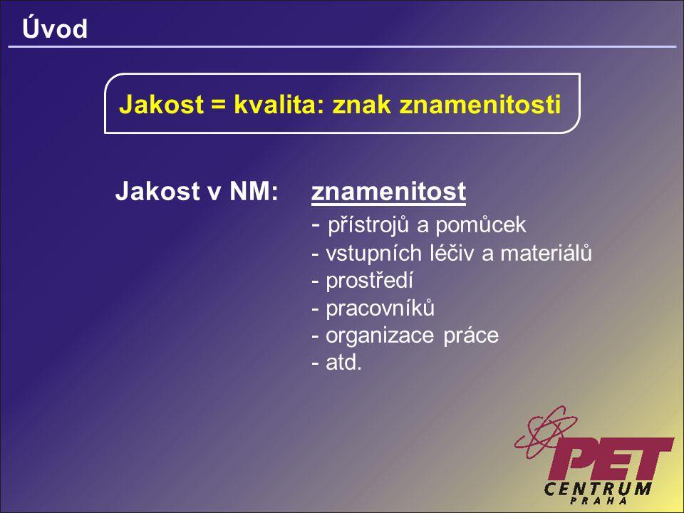 Úvod Jakost = kvalita: znak znamenitosti Jakost v NM:znamenitost - přístrojů a pomůcek - vstupních léčiv a materiálů - prostředí - pracovníků - organizace práce - atd.