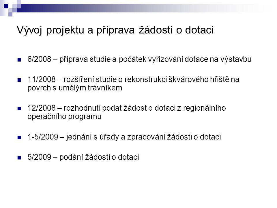 Vývoj projektu a příprava žádosti o dotaci  6/2008 – příprava studie a počátek vyřizování dotace na výstavbu  11/2008 – rozšíření studie o rekonstrukci škvárového hřiště na povrch s umělým trávníkem  12/2008 – rozhodnutí podat žádost o dotaci z regionálního operačního programu  1-5/2009 – jednání s úřady a zpracování žádosti o dotaci  5/2009 – podání žádosti o dotaci