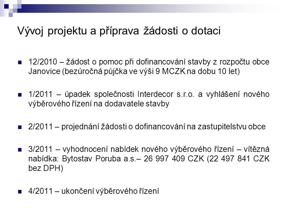 Vývoj projektu a příprava žádosti o dotaci  12/2010 – žádost o pomoc při dofinancování stavby z rozpočtu obce Janovice (bezúročná půjčka ve výši 9 MCZK na dobu 10 let)  1/2011 – úpadek společnosti Interdecor s.r.o.