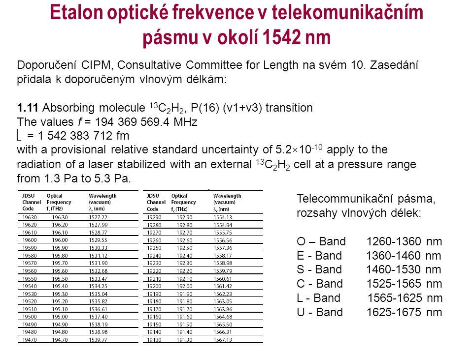 Etalon optické frekvence v telekomunikačním pásmu v okolí 1542 nm Telecommunikační pásma, rozsahy vlnových délek: O – Band 1260-1360 nm E - Band 1360-
