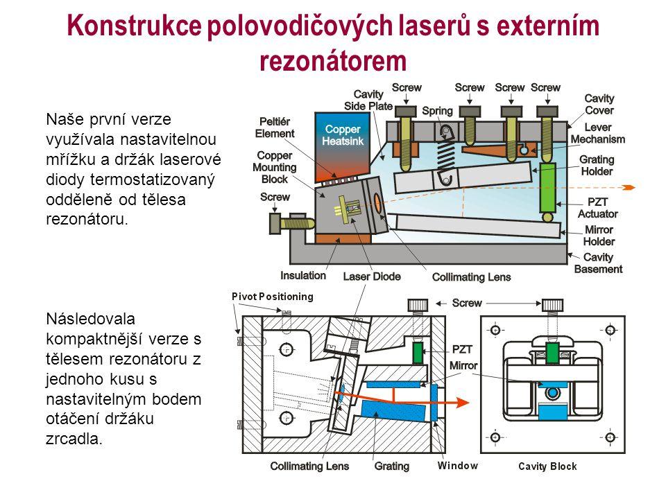 Konstrukce polovodičových laserů s externím rezonátorem Naše první verze využívala nastavitelnou mřížku a držák laserové diody termostatizovaný odděle