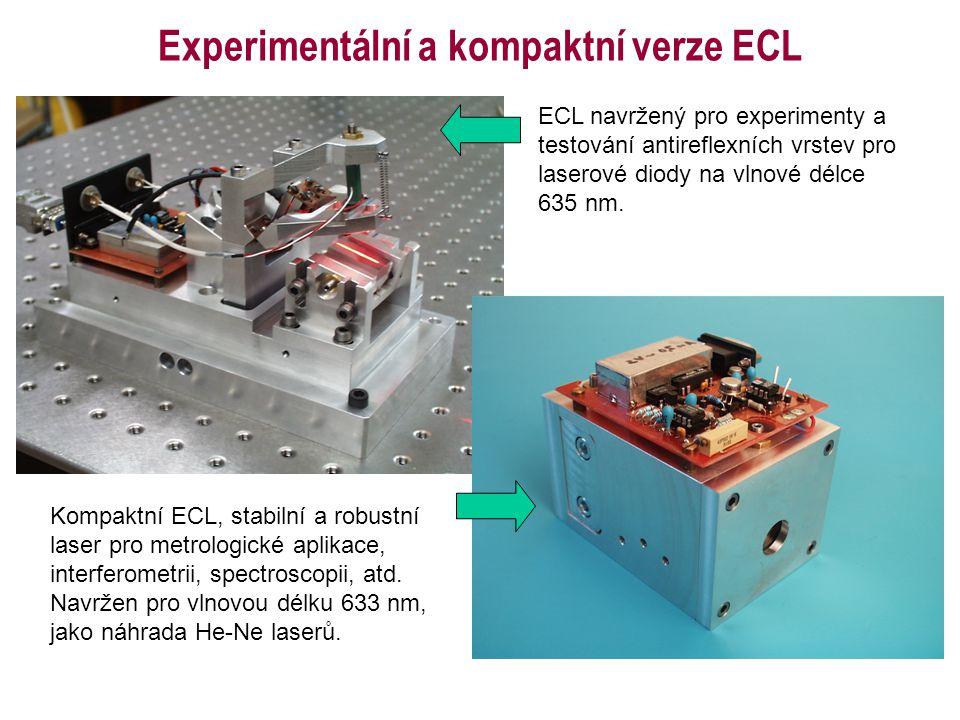 ECL navržený pro experimenty a testování antireflexních vrstev pro laserové diody na vlnové délce 635 nm. Kompaktní ECL, stabilní a robustní laser pro