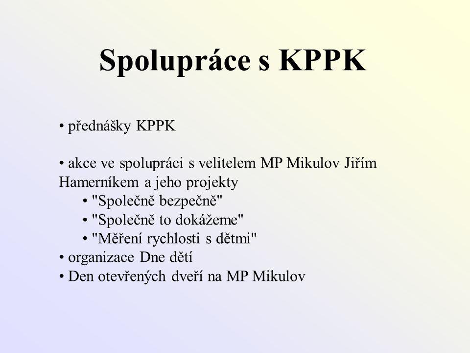 Spolupráce s KPPK • přednášky KPPK • akce ve spolupráci s velitelem MP Mikulov Jiřím Hamerníkem a jeho projekty •