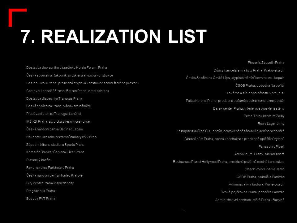 7. REALIZATION LIST: Dostavba dopravního dispečinku Hotelu Forum, Praha Česká spořitelna Rakovník, prosklená atypická konstrukce Casino Tivolli Praha,