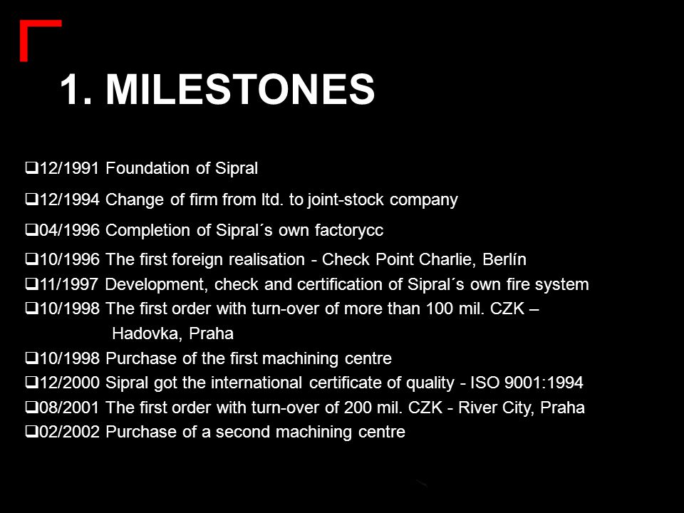  10/1996 The first foreign realisation - Check Point Charlie, Berlín  11/1997 Development, check and certification of Sipral´s own fire system  10/