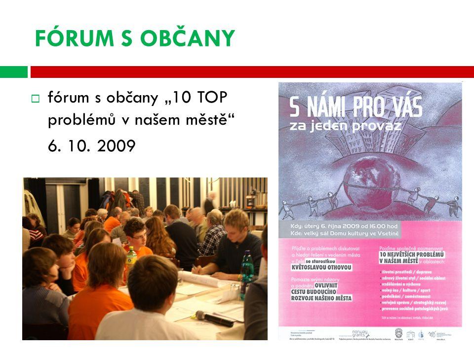 """FÓRUM S OBČANY  fórum s občany """"10 TOP problémů v našem městě 6. 10. 2009"""