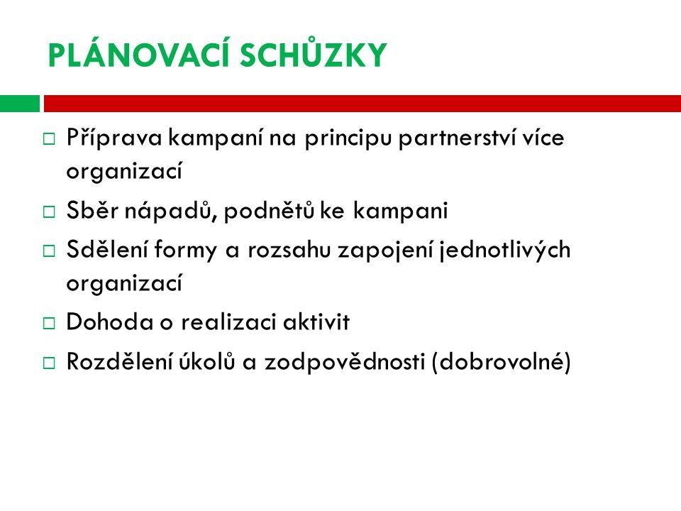PLÁNOVACÍ SCHŮZKY  Příprava kampaní na principu partnerství více organizací  Sběr nápadů, podnětů ke kampani  Sdělení formy a rozsahu zapojení jednotlivých organizací  Dohoda o realizaci aktivit  Rozdělení úkolů a zodpovědnosti (dobrovolné)