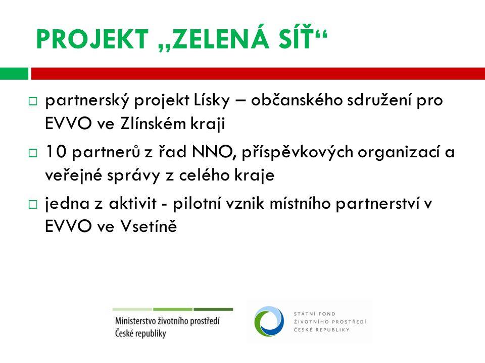 """PROJEKT """"ZELENÁ SÍŤ  partnerský projekt Lísky – občanského sdružení pro EVVO ve Zlínském kraji  10 partnerů z řad NNO, příspěvkových organizací a veřejné správy z celého kraje  jedna z aktivit - pilotní vznik místního partnerství v EVVO ve Vsetíně"""