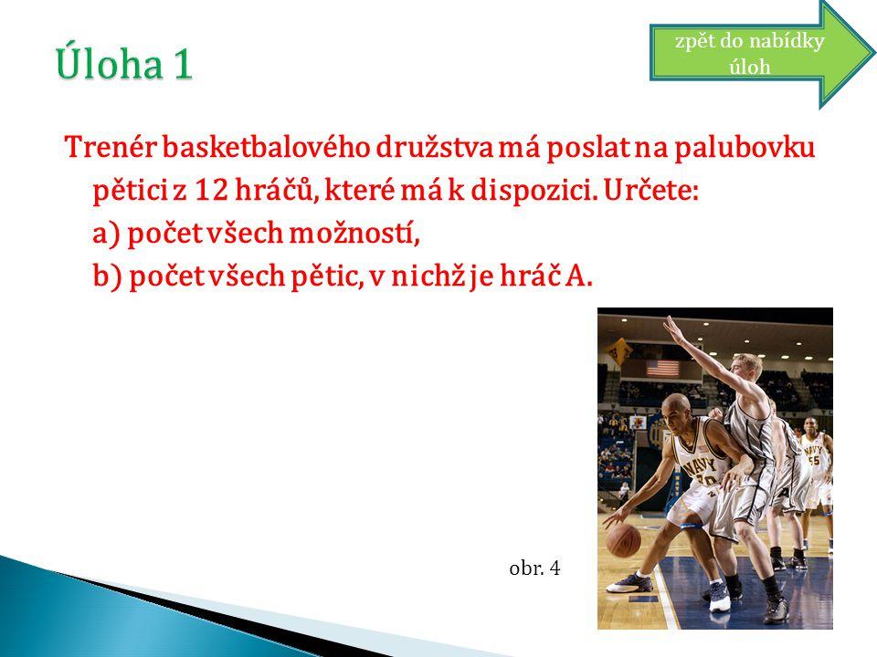Trenér basketbalového družstva má poslat na palubovku pětici z 12 hráčů, které má k dispozici.
