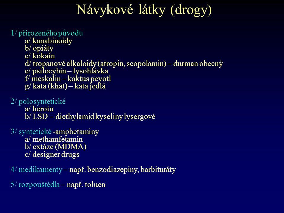 Návykové látky (drogy) 1/ přirozeného původu a/ kanabinoidy b/ opiáty c/ kokain d/ tropanové alkaloidy (atropin, scopolamin) – durman obecný e/ psiloc