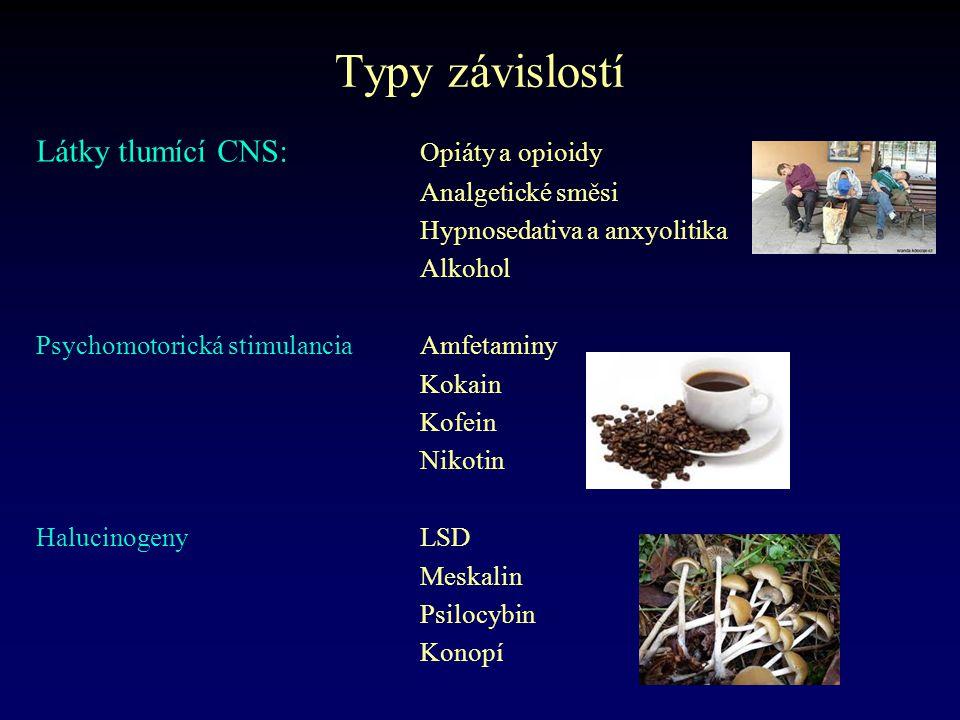 Typy závislostí Látky tlumící CNS: Opiáty a opioidy Analgetické směsi Hypnosedativa a anxyolitika Alkohol Psychomotorická stimulanciaAmfetaminy Kokain