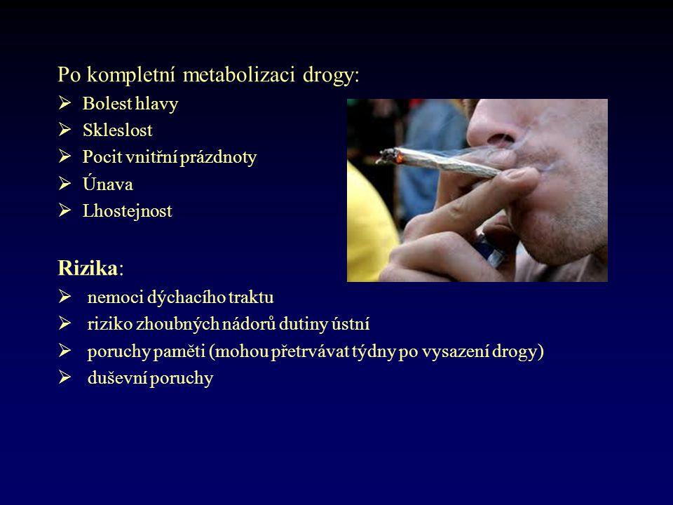 Po kompletní metabolizaci drogy:  Bolest hlavy  Skleslost  Pocit vnitřní prázdnoty  Únava  Lhostejnost Rizika:  nemoci dýchacího traktu  riziko