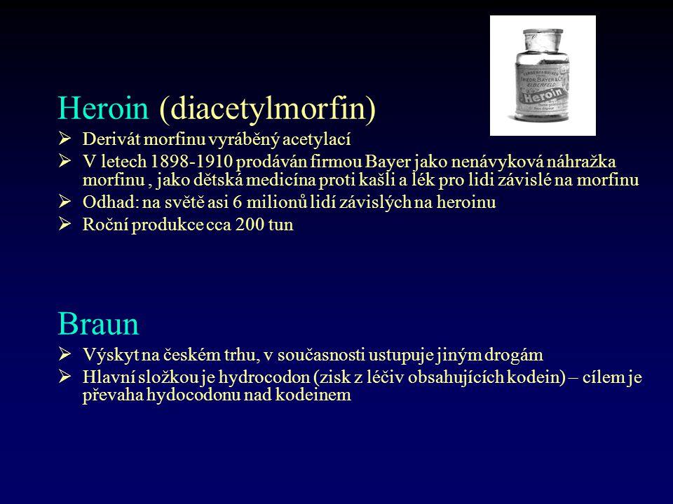 Heroin (diacetylmorfin)  Derivát morfinu vyráběný acetylací  V letech 1898-1910 prodáván firmou Bayer jako nenávyková náhražka morfinu, jako dětská