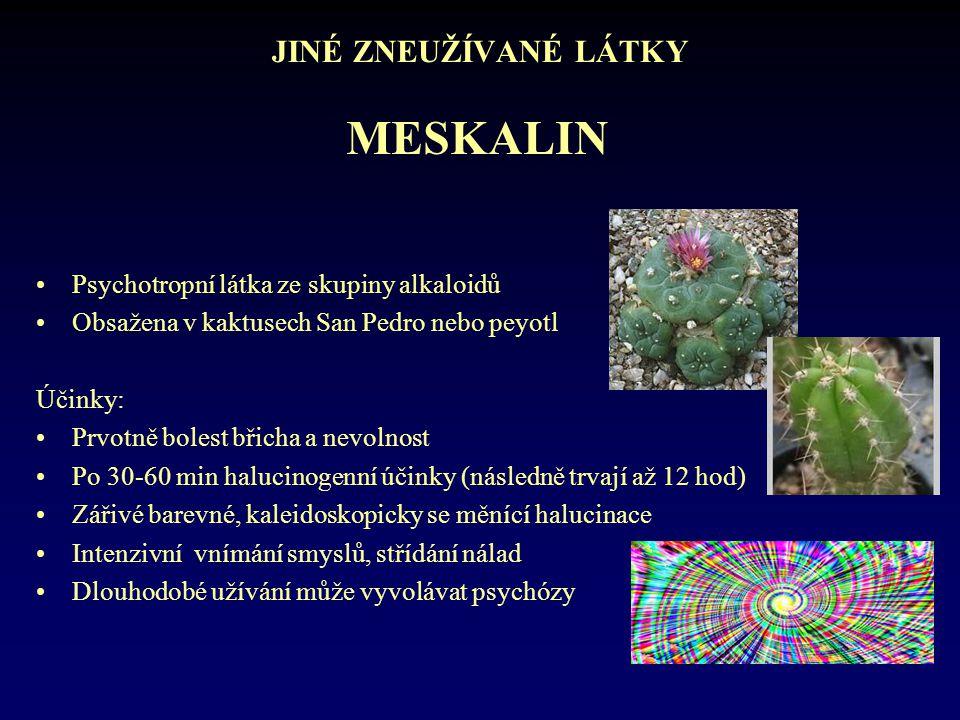 JINÉ ZNEUŽÍVANÉ LÁTKY •Psychotropní látka ze skupiny alkaloidů •Obsažena v kaktusech San Pedro nebo peyotl Účinky: •Prvotně bolest břicha a nevolnost
