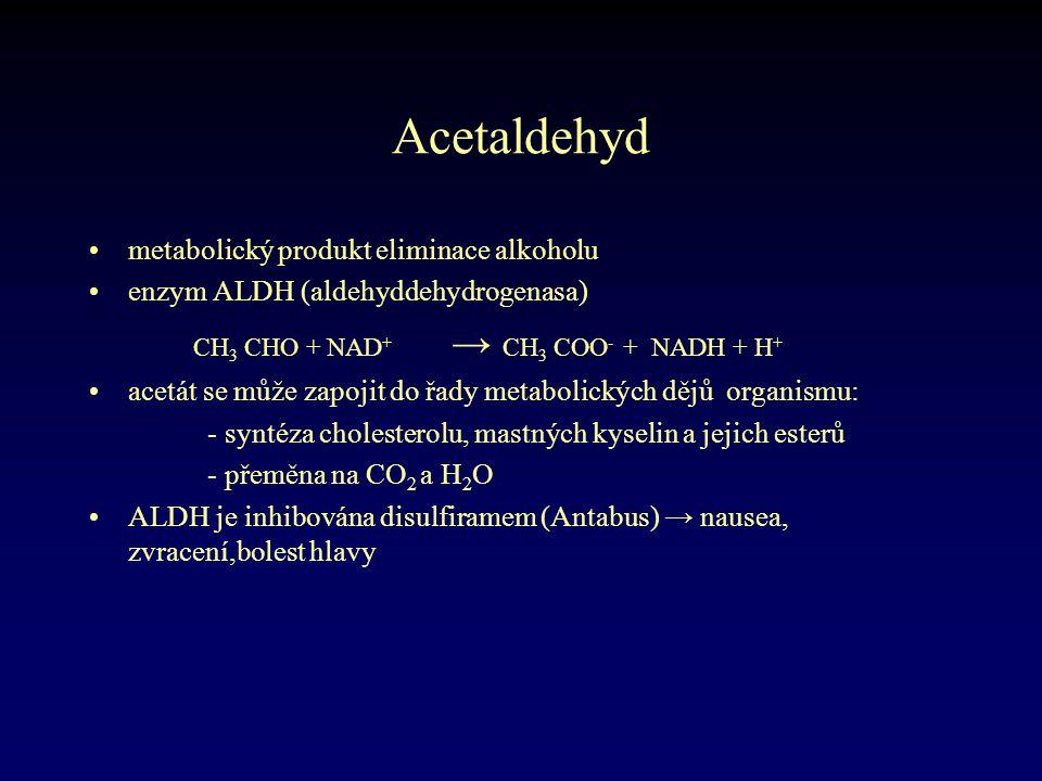 Acetaldehyd •metabolický produkt eliminace alkoholu •enzym ALDH (aldehyddehydrogenasa) CH 3 CHO + NAD + → CH 3 COO - + NADH + H + •acetát se může zapo