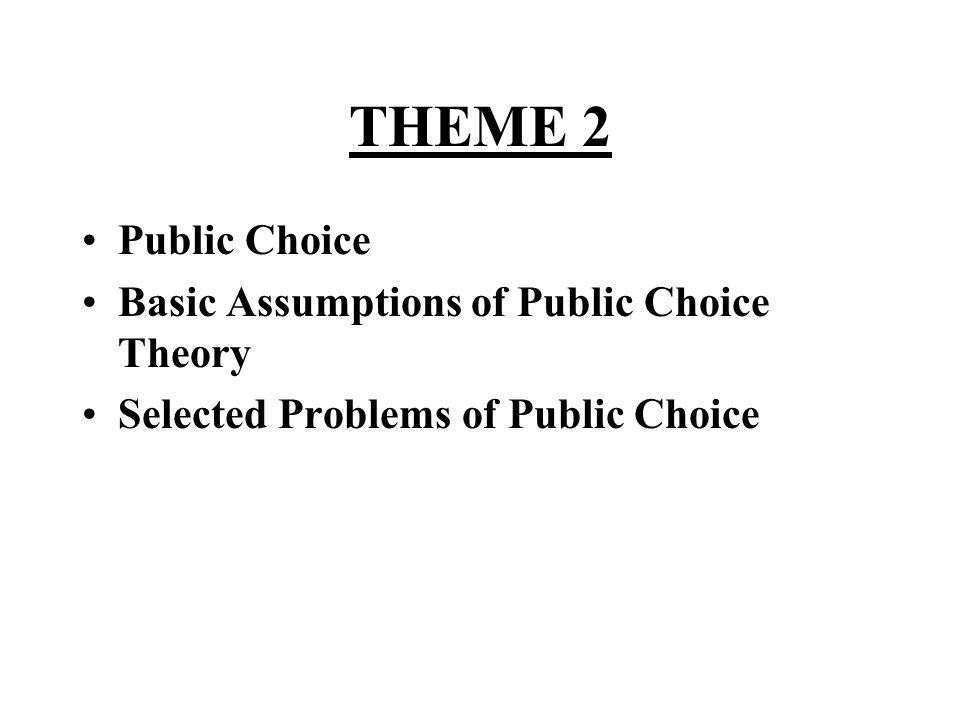 THEME 2 •Public Choice •Basic Assumptions of Public Choice Theory •Selected Problems of Public Choice