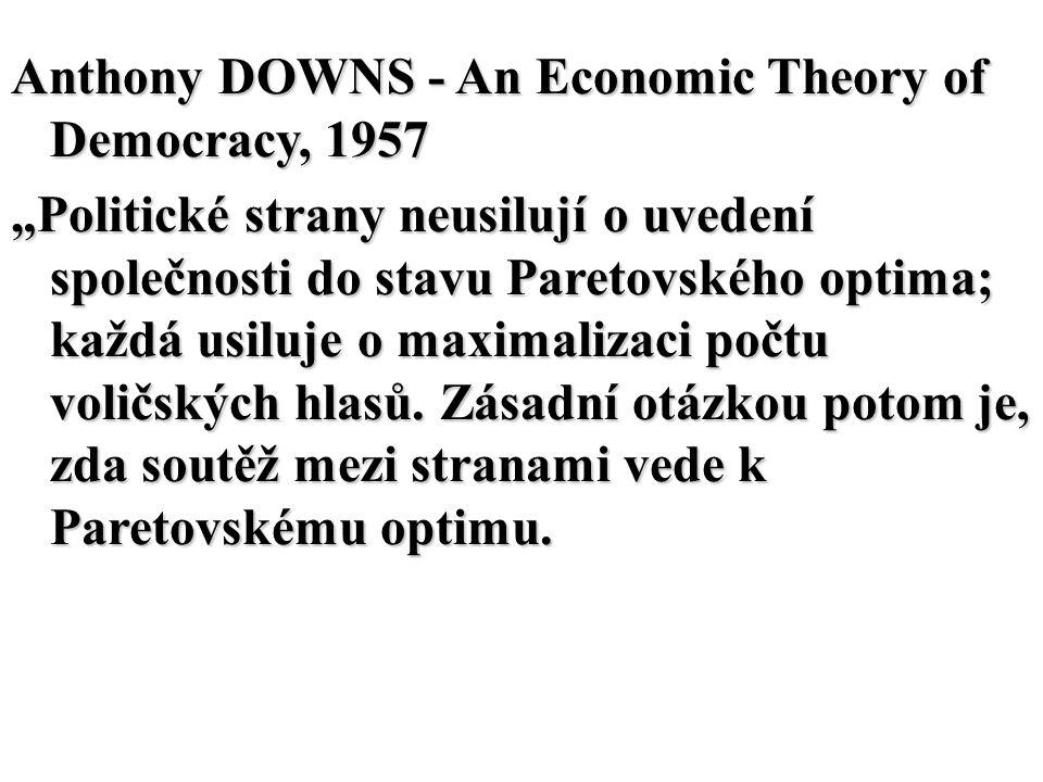 """Anthony DOWNS - An Economic Theory of Democracy, 1957 """"Politické strany neusilují o uvedení společnosti do stavu Paretovského optima; každá usiluje o"""