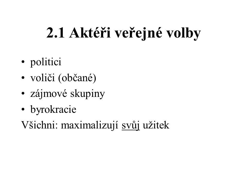2.1 Aktéři veřejné volby •politici •voliči (občané) •zájmové skupiny •byrokracie Všichni: maximalizují svůj užitek